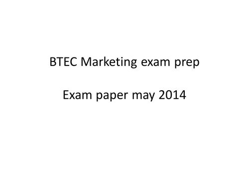 BTEC Business - marketing - exam prep