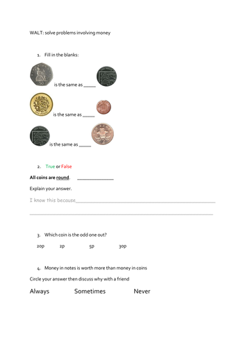 year 1 money worksheets maths mastery questions by teachchan teaching resources. Black Bedroom Furniture Sets. Home Design Ideas