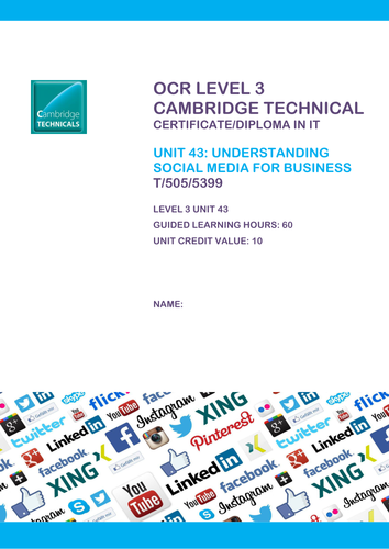 OCR Cambridge Technicals ICT Unit 43 Social Media for Business Use