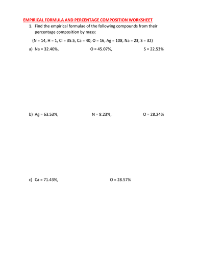 Percentage Composition Worksheet - Sharebrowse