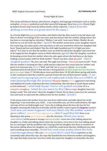 English Literature GCSE FULL MARKED ESSAY on 'A Frosty Night' (Graves) and  'Catrin' (Clarke)
