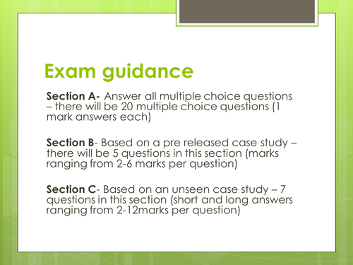 Cambridge Technicals L3 Business Studies Unit 1 Exam Guidance