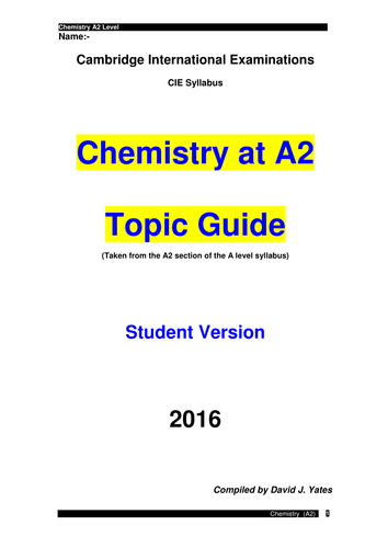 Chemistry booklet (A2) student version