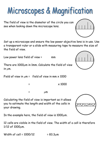 Microscopes: field of view & magnification by pjtindall teaching.