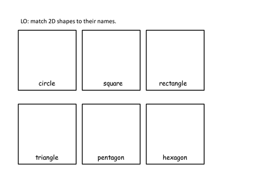 Year 1 2D Shape Cut And Stick Activity: Match Shapes To