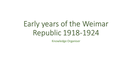Knowledge Organiser: Early Years of the Weimar Republic