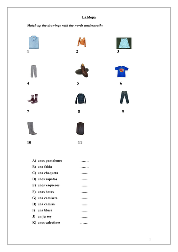 Spanish Clothes Booklet La Ropa By Ciaramcv Teaching Resources Tes