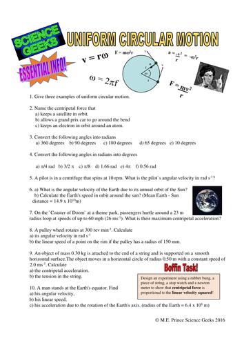 UNIFORM CIRCULAR MOTION WORKSHEET by scigeeks - Teaching Resources ...