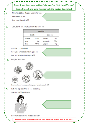 Year 3 Maths Starter Activities - Subtraction & Finding the Difference - Differentiated