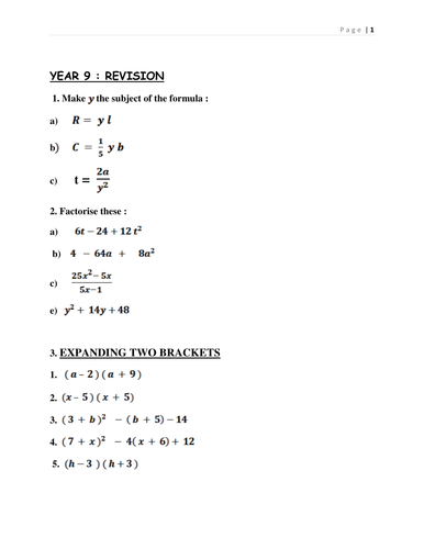 Awesome Algebra Revision for Years 9 & 10