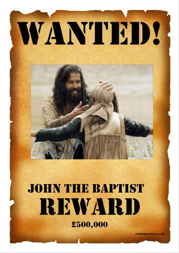 John the Baptist Wanted Poster Template - Lesson Starter / Poster