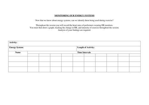 A Level PE energy systems worksheet by aliciaberry   Teaching Resources
