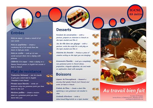 Takeaway homework menu - French IGCSE/Ab initio