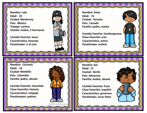 Spanish  Character  Cards ~ All about me (Icebreaker)Hobbies / Jobs / Classes