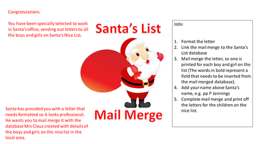 Christmas ICT: Santa's Mail Merge - Business or ICT