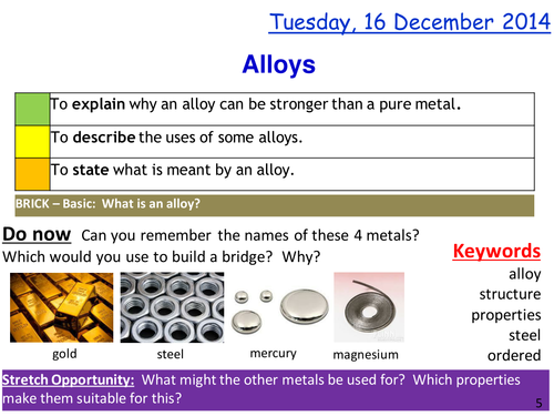 Metal alloys lesson