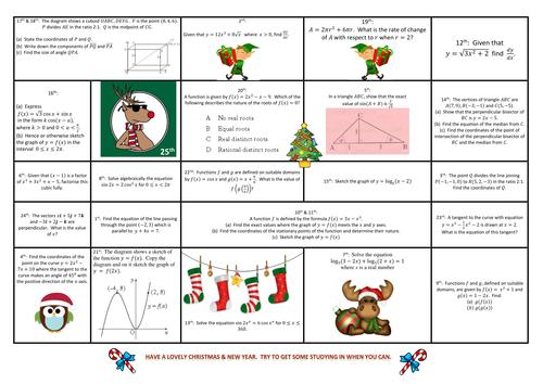 Advanced Higher, Higher  and N5 Maths - Advent Calendars
