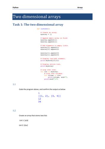 2d Arrays (lists) practical for GCSE Computer Science using Python