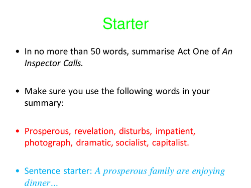 AN INSPECTOR CALLS - ACT TWO - MRS BIRLING & SHEILA - NEW 1-9 GCSE COURSE
