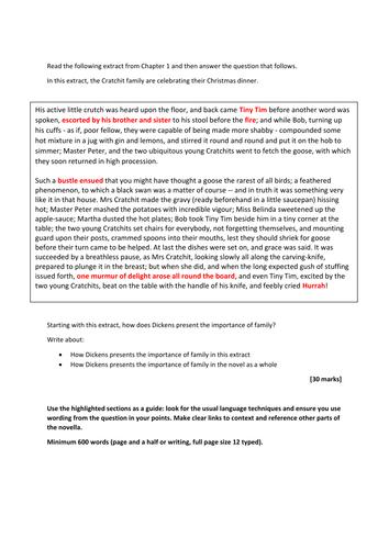 A CHRISTMAS CAROL - CRACHIT FAMILY EXAM QUESTION FOR AQA