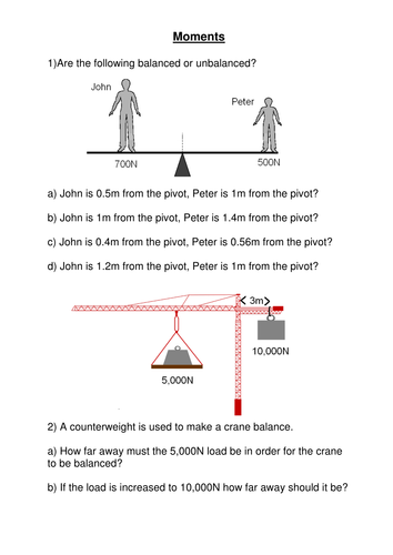 Worksheet - Moments of Force by CSnewin   Teaching Resources