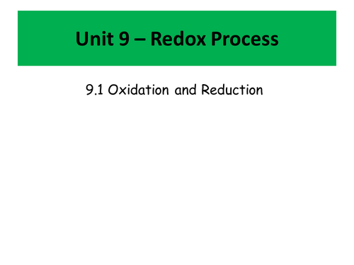 Redox Reactions and Electrochemical Cells Scheme of Work