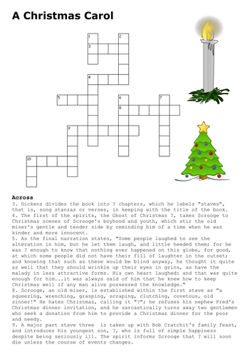 A Christmas Carol Crossword By Sfy773 Teaching Resources