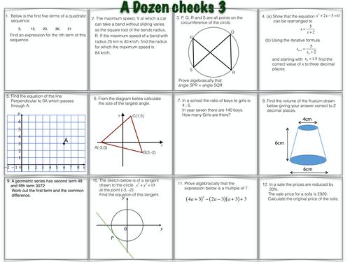 A Dozen GCSE Maths Questions worksheet 3 & 4