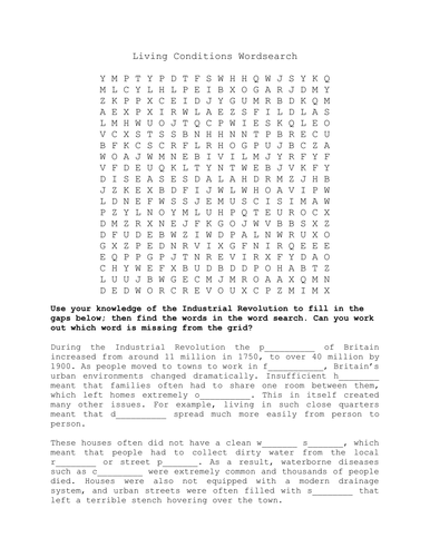Industrial Revolution: Living Conditions Wordsearch