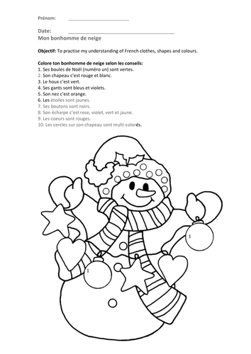 Worksheet - Snowman and Christmas tree - Colouring ...
