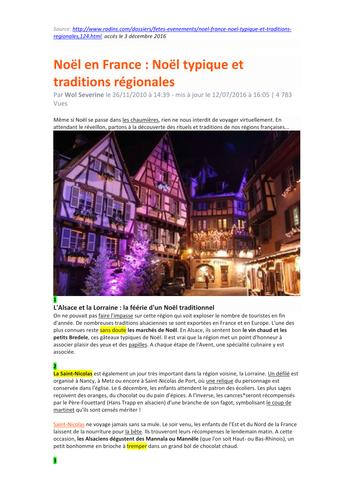 Worksheet - Traditional Christmas Regional Celebrations in France - KS5