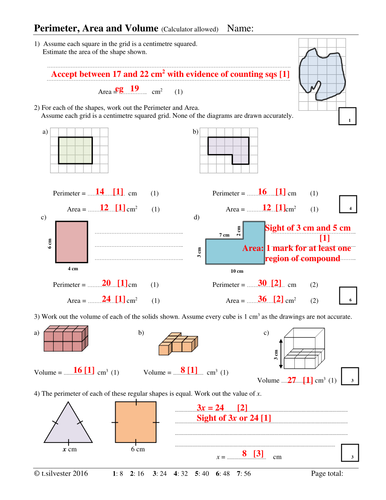 Perimeter, Area and Volume homework or revision resource