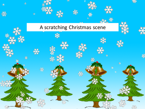 A Scratching (Scratch) Christmas scene - make it snow!