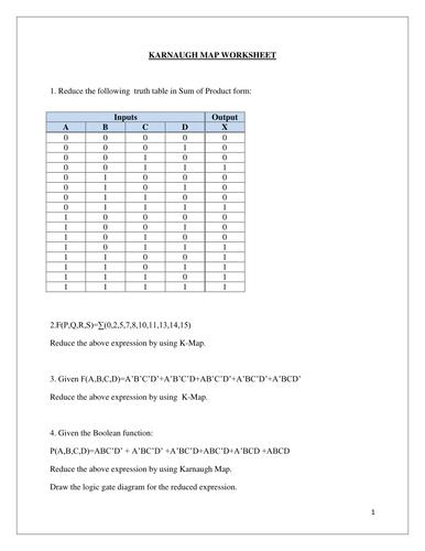KARNAUGH MAP-SOLVE LOGIC PROBLEMS  - WORKSHEET (WITH SOLUTION)