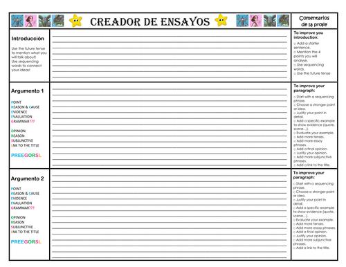 El laberinto del Fauno - Essay titles Booklet and A3 Essay draft planner