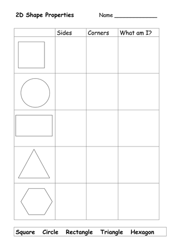2D shapes properties worksheet