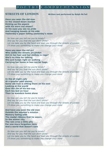 POETRY COMPREHENSION Social Conscience Poetry - Reading for Meaning