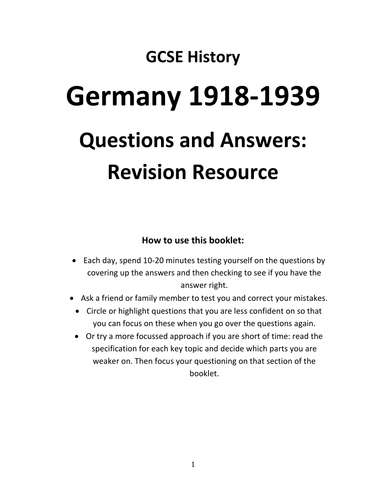 GCSE History- Germany Revision