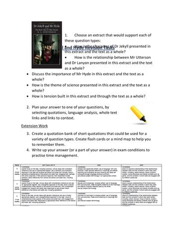 Jekyll and Hyde Revision Tasks - EDUQAS