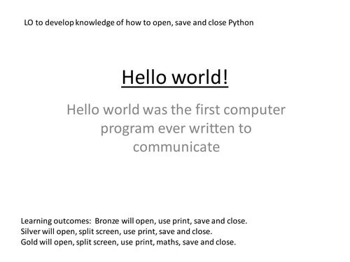 Year 9 program of work on Python