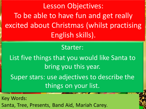 Christmas literacy English Quiz Activities End of Term