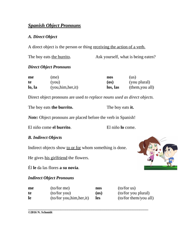 Spanish Direct and Indirect Object Pronouns Worksheet + Handout