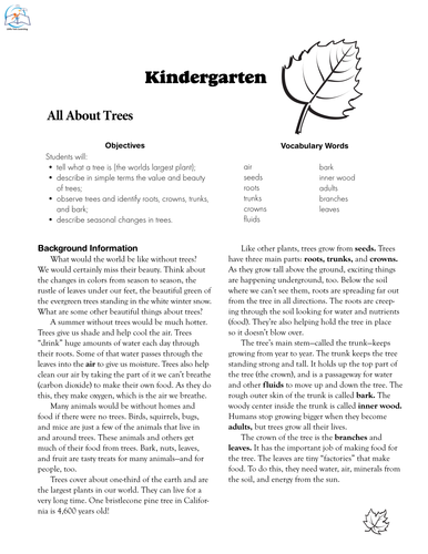 Kindergarten Fall Resource {All About Trees}