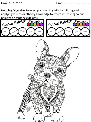 Colour Shading Worksheet focusing on selecting colour palettes