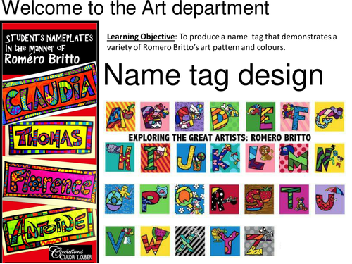 Name tag in the style of Britto