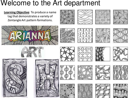 zentangle name tag by hannahrumbleoneill teaching resources