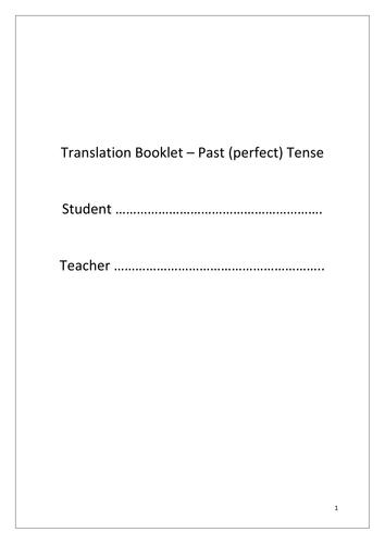 Past tense translation practice booklet