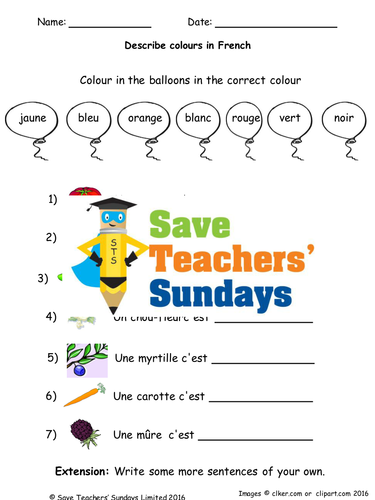 French Colours Lesson Plan, PowerPoint (with audio), Flashcards & Worksheet
