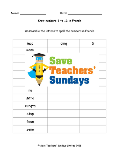 French Numbers 1-12 Lesson Plan, PowerPoint (with audio), Cards & Worksheet