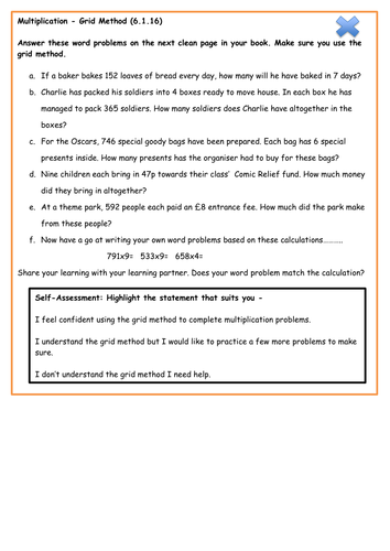 Multiplication Word problems - Grid method - Year 4